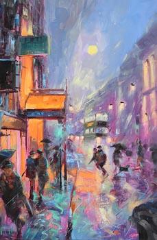 Gerard P Glynn, Night Life, Dame Street, Dublin (1999) at Morgan O'Driscoll Art Auctions