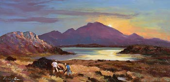 William Cunningham, Working Turf by Sunset, Connemara at Morgan O'Driscoll Art Auctions