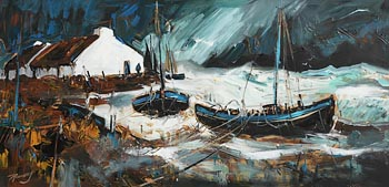 J.P. Rooney, The Storm Around Logan's Boats, Inch Island at Morgan O'Driscoll Art Auctions