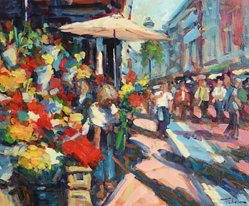 Norman Teeling, Flower Sellers Grafton Street at Morgan O'Driscoll Art Auctions
