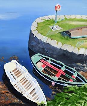 Sian Maguire, Over the Wall, Roundstone Harbour (2021) at Morgan O'Driscoll Art Auctions