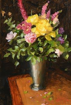Mat Grogan, Yellow and Pink Arrangement at Morgan O'Driscoll Art Auctions