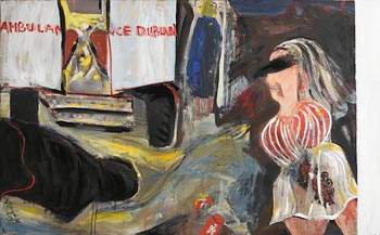 Brian Maguire, Aftermath of a Fight, Temple Bar (1985) at Morgan O'Driscoll Art Auctions