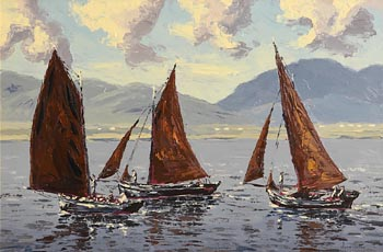 Ivan Sutton, Galway Hookers, Homeward Bound, Clifden Bay, Co. Galway at Morgan O'Driscoll Art Auctions