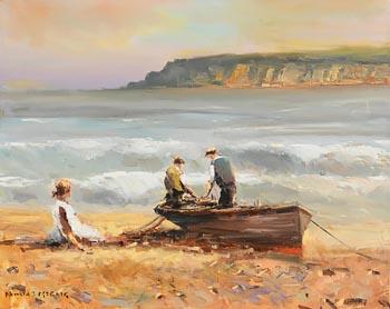 Norman J. McCaig, Fishermen at Garron Point at Morgan O'Driscoll Art Auctions