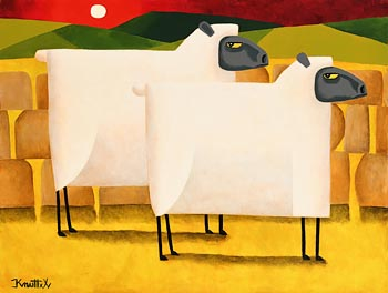 Graham Knuttel, Ewes at Sunset at Morgan O'Driscoll Art Auctions