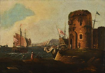 William Sadler, Levantine Port Scene with Figures in the Foreground, Martello Tower and Boats Beyond at Morgan O'Driscoll Art Auctions