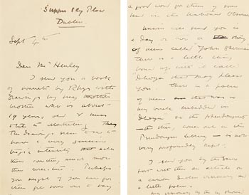 William Butler Yeats, Letter to Mr. Henley at Morgan O'Driscoll Art Auctions