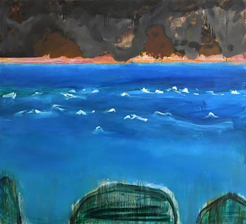 Barrie Cooke, Blue, White Wavelets - Green Islands at Morgan O'Driscoll Art Auctions