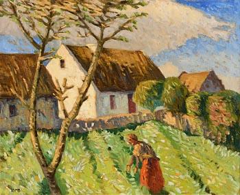 Charles Vincent Lamb, Tending Potatoes, Carraroe, Galway at Morgan O'Driscoll Art Auctions