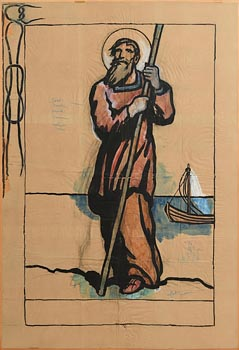 Jack Butler Yeats, Cartoon for a Banner, Probably St. Brendan (c.1928) at Morgan O'Driscoll Art Auctions