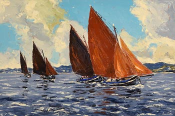 Ivan Sutton, Galway Hookers Carraroe Bay, Co Galway at Morgan O'Driscoll Art Auctions