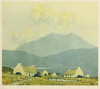 Paul Henry, Peat Stacks and Cottages by a Lake, Connemara at Morgan O'Driscoll Art Auctions