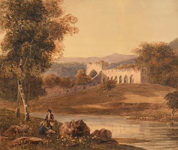 George Barrett, Anglers Near a Ruined Monastery at Morgan O'Driscoll Art Auctions