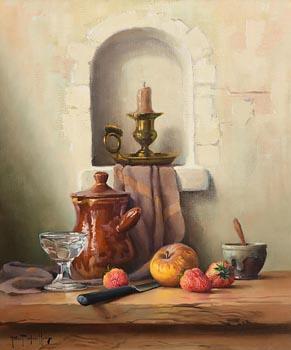 Robert Chailloux, Candlestick, Fruit, Glass and Brown Pot at Morgan O'Driscoll Art Auctions