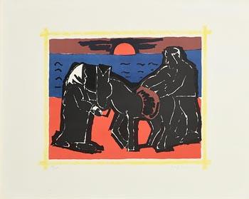 Josef Herman, The Red Sun at Morgan O'Driscoll Art Auctions