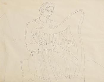 Elizabeth Rivers, The Harpist at Morgan O'Driscoll Art Auctions