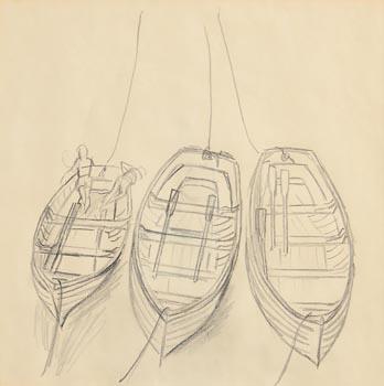 Elizabeth Rivers, Moored Boats at Morgan O'Driscoll Art Auctions
