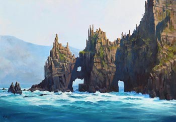 Annemarie Bourke, Cathedral Rocks, Blasket Islands at Morgan O'Driscoll Art Auctions