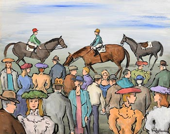 Gladys MacCabe, Race Day, Leopardstown at Morgan O'Driscoll Art Auctions