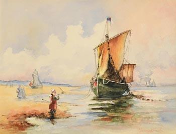 Johan Barthold Jongkind, Unloading on the Shore, Antwerp at Morgan O'Driscoll Art Auctions