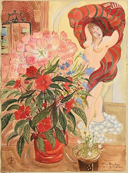 Pauline Bewick, Tulips, Busy Lizzy and Girl Dressing at Morgan O'Driscoll Art Auctions