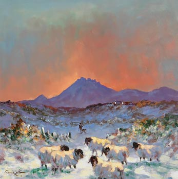 William Cunningham, Sheep in the Snow, Near Errigal, Co. Donegal at Morgan O'Driscoll Art Auctions
