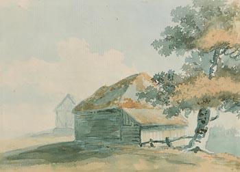 George  Barrett Snr(1732-1784), Study of a Barn and Tree at Morgan O'Driscoll Art Auctions