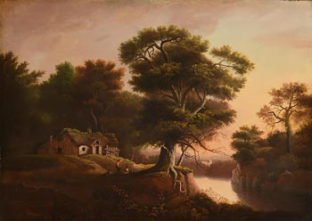19th Century English School, Figures by the Homestead in a Rural Landscape at Morgan O'Driscoll Art Auctions