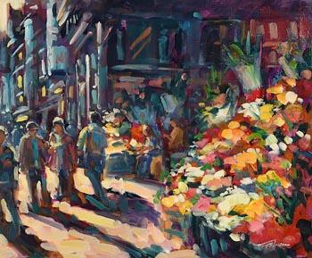 Norman Teeling, Flower Sellers, Grafton Street at Morgan O'Driscoll Art Auctions