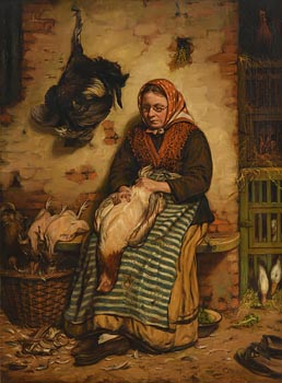 Thomas Faed, Woman Plucking Poultry (1879) at Morgan O'Driscoll Art Auctions