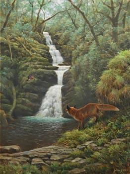 Julian Friers, Fox and Jay, O'Sullivan's Cascade, Killarney at Morgan O'Driscoll Art Auctions