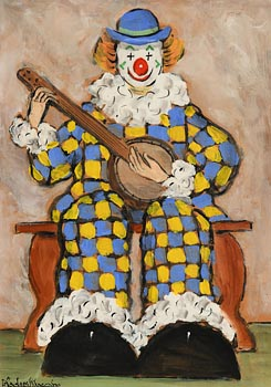 Gladys MacCabe, Seated Clown with a Banjo at Morgan O'Driscoll Art Auctions