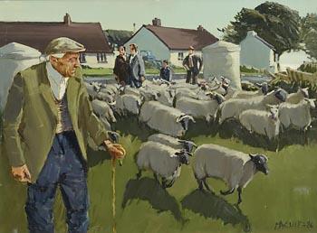 Cecil Maguire, Sheep Fair, Cushendun, Co. Antrim (1986) at Morgan O'Driscoll Art Auctions