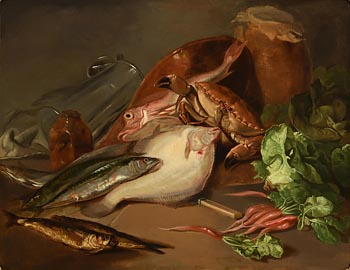 Daniel MacDonald, Still Life with Crab, Fish and Vegetables (1843) at Morgan O'Driscoll Art Auctions