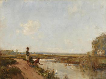 Frank McKelvey, Children on the Banks of the Lagan at Morgan O'Driscoll Art Auctions