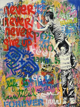 Mr. Brainwash, Never, Never Give Up at Morgan O'Driscoll Art Auctions