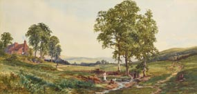 John Faulkner, Figures in a Country Landscape at Morgan O'Driscoll Art Auctions