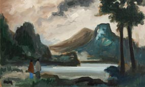 Markey Robinson, Figures by the Lake at Morgan O'Driscoll Art Auctions