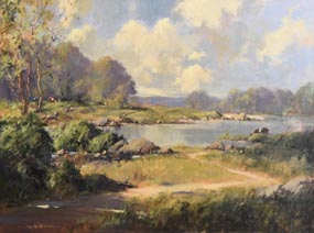 George Gillespie, On the River Shannon, Corbally, Co Limerick at Morgan O'Driscoll Art Auctions