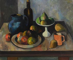 Peter Collis, Black Bottle & Fruit at Morgan O'Driscoll Art Auctions