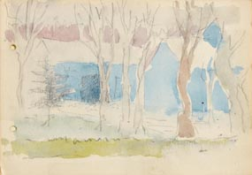 Jack Butler Yeats, View of the Lake Through Trees at Morgan O'Driscoll Art Auctions