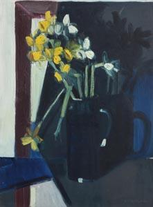 Brian Ballard, Daffodils Against Blue at Morgan O'Driscoll Art Auctions