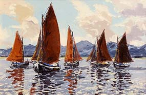 Ivan Sutton, Galway Hookers, Roundstone Bay, Co Galway at Morgan O'Driscoll Art Auctions
