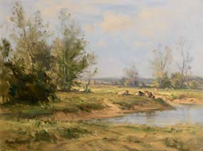 Frank McKelvey, Cattle Grazing by the River at Morgan O'Driscoll Art Auctions