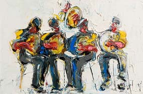 John Brian Vallely, The Five Musicians at Morgan O'Driscoll Art Auctions