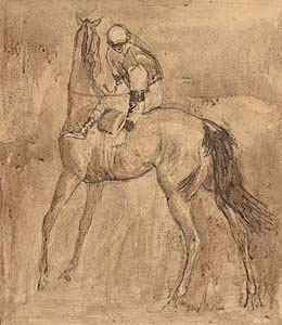 Basil Blackshaw, Jockey Adjusting the Girth at Morgan O'Driscoll Art Auctions