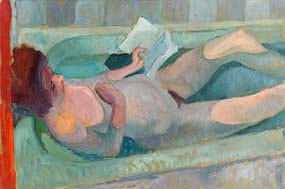 Colin Middleton, Girl Reading in the Bath (1947) at Morgan O'Driscoll Art Auctions