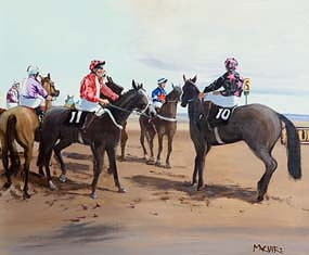 Cecil Maguire, Silks at the Start, Laytown Races at Morgan O'Driscoll Art Auctions