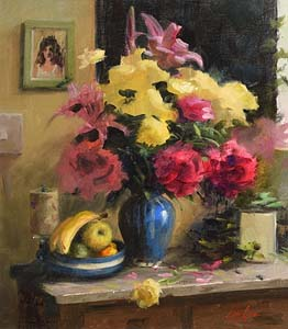 Mat Grogan, Still Life - Flowers and Fruit at Morgan O'Driscoll Art Auctions